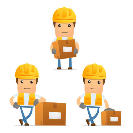 safety box: set of funny cartoon builder Illustration