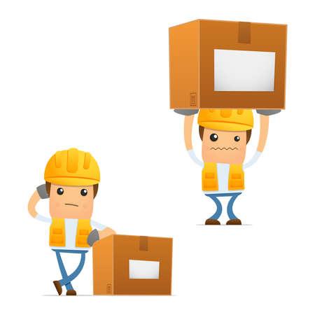 men at work: set of funny cartoon builder Illustration