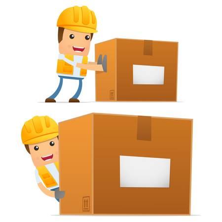 crate: set of funny cartoon builder Illustration