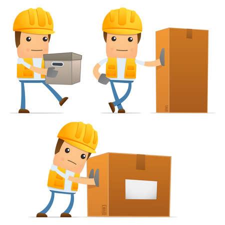 cartoon builder: set of funny cartoon builder Illustration