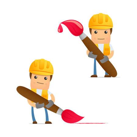 cartoon engineer: set of funny cartoon builder Illustration