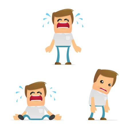 mouth pain: set of funny cartoon casual man