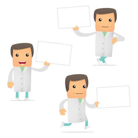 medical occupation: set of funny cartoon doctor