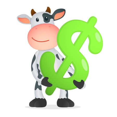 banker: funny cartoon cow Illustration