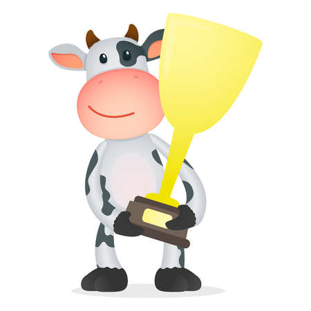 winning first: funny cartoon cow Illustration
