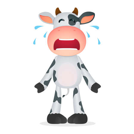 crying child: funny cartoon cow Illustration