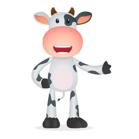 vaca caricatura: vaca divertida de la historieta Vectores