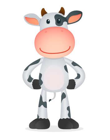 vaca caricatura: vaca de dibujos animados divertidos Vectores