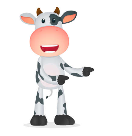 domestic cattle: funny cartoon cow Illustration