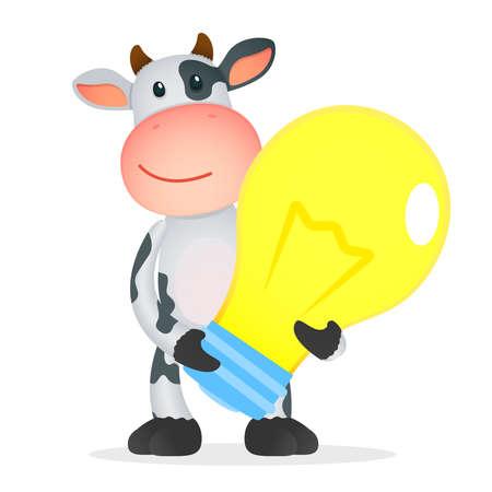 working animals: funny cartoon cow Illustration