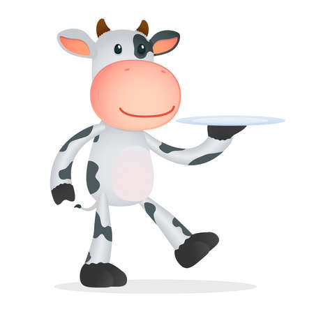 butler: funny cartoon cow Illustration