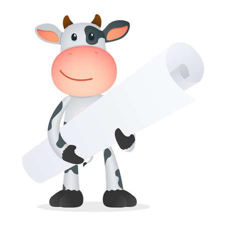 bull illustration cute animals: funny cartoon cow Illustration