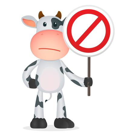 dangers: funny cartoon cow Illustration