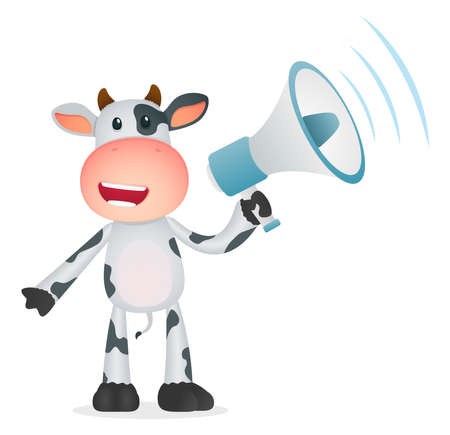 loudspeaker: funny cartoon cow Illustration