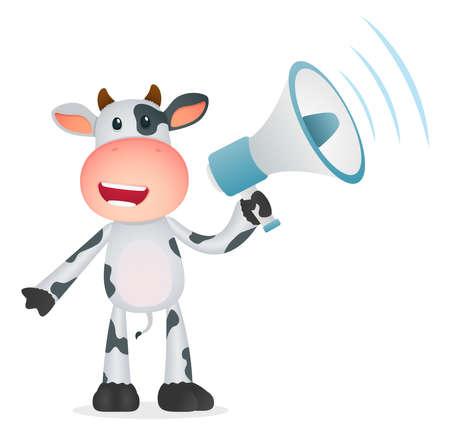 clipart speaker: funny cartoon cow Illustration
