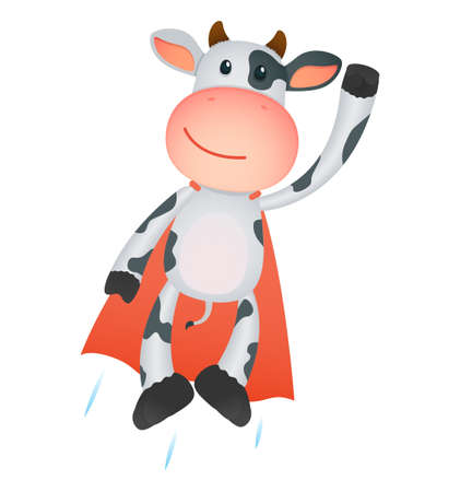 funny cartoon cow Illustration