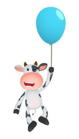 manga style: funny cartoon cow Illustration