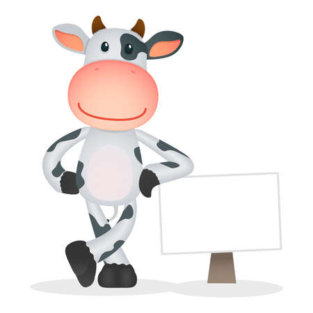 farm sign: funny cartoon cow Illustration