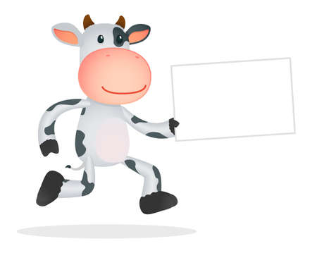 holding blank sign: funny cartoon cow Illustration