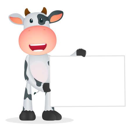 placards: funny cartoon cow Illustration