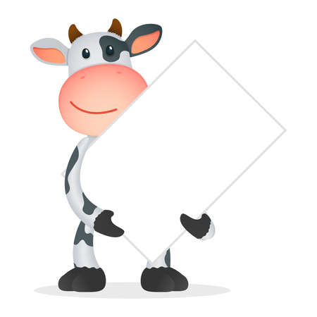billboard blank: funny cartoon cow Illustration