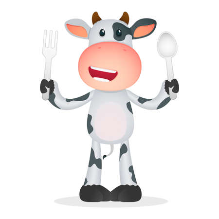 eat cartoon: funny cartoon cow Illustration