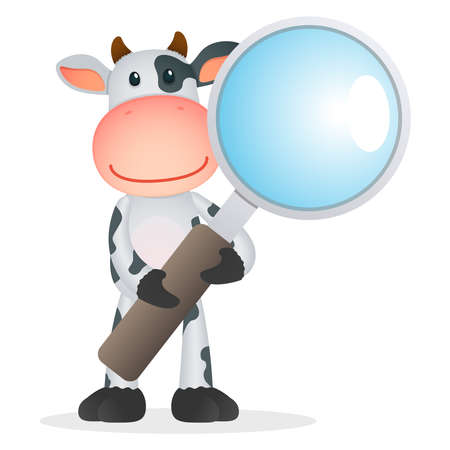 magnifier: funny cartoon cow Illustration