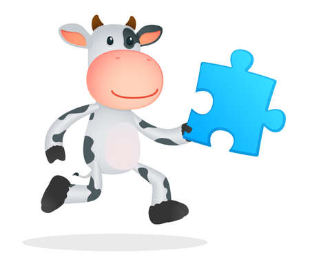 art piece: funny cartoon cow Illustration