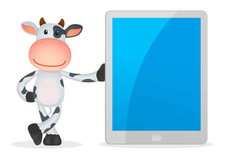 mobil phone: funny cartoon cow Illustration