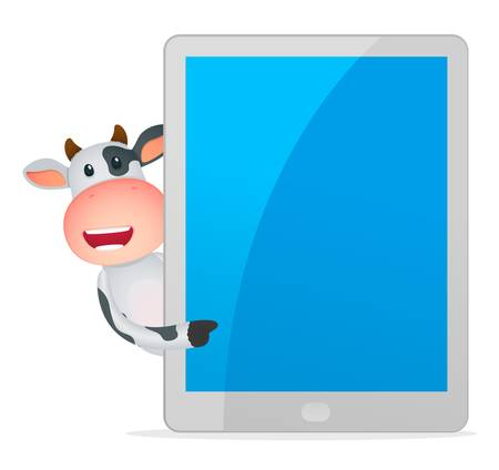 palmtop computer: funny cartoon cow Illustration
