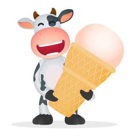 sundae: funny cartoon cow Illustration