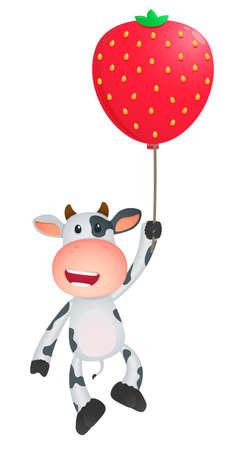 cartoon strawberry: funny cartoon cow Illustration
