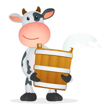 dairy product: funny cartoon cow Illustration