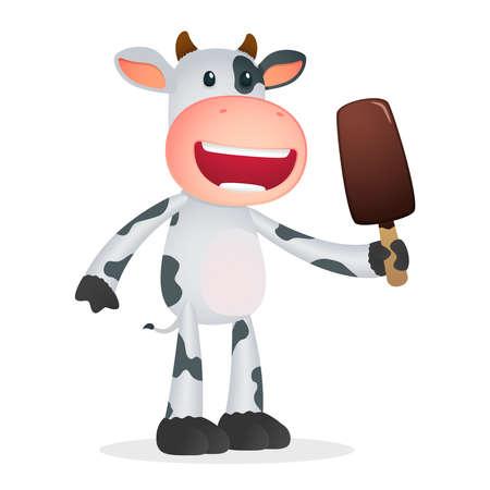 ice cream sundae: funny cartoon cow Illustration
