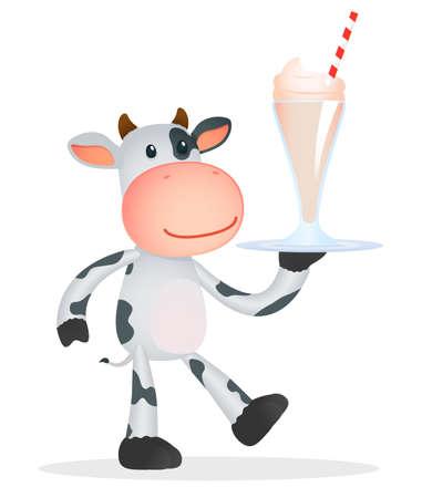 latte fresco: mucca divertente cartone animato