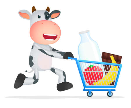 dairy cattle: funny cartoon cow Illustration