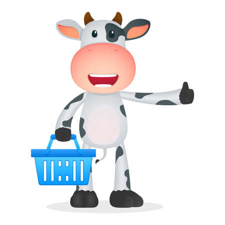 empty basket: funny cartoon cow Illustration