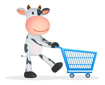 e market: funny cartoon cow Illustration
