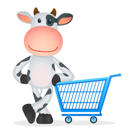 e store: funny cartoon cow Illustration