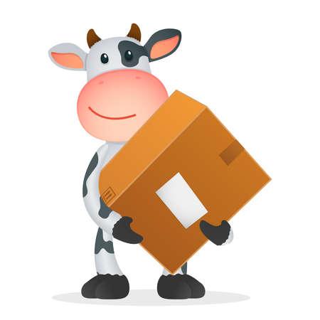 курьер: смешной мультфильм Корова Иллюстрация