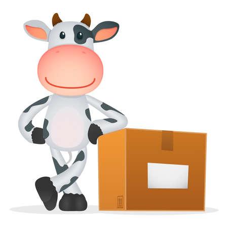 funny cartoon cow Stock Vector - 11250790