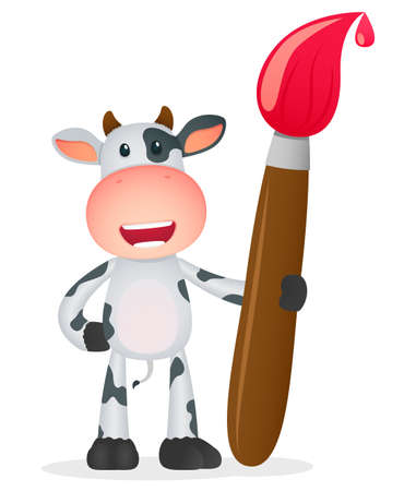 paint drop: funny cartoon cow Illustration
