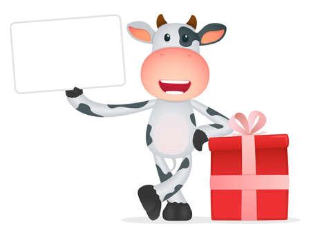 cow farm: funny cartoon cow Illustration