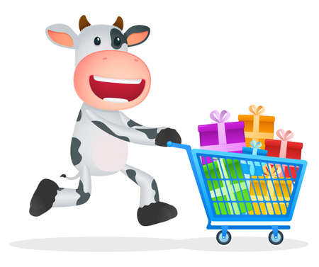 funny cartoon cow Stock Vector - 11250821
