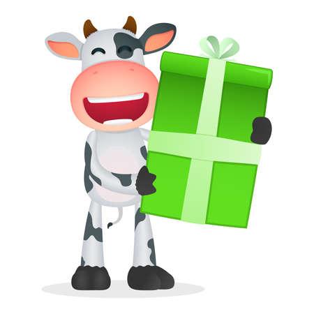 cartoon present: funny cartoon cow Illustration