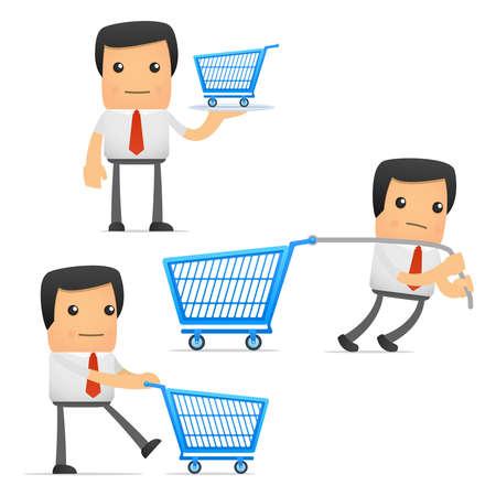 shopping cartoon: set of funny cartoon manager