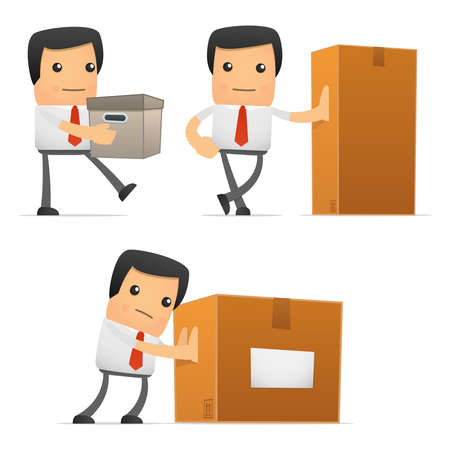 office products: conjunto de gerente de divertidos dibujos animados