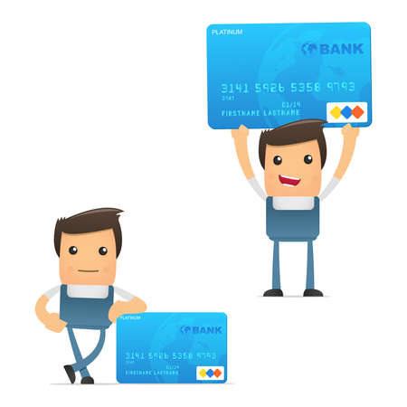 credit card debt: set of funny cartoon mechanic