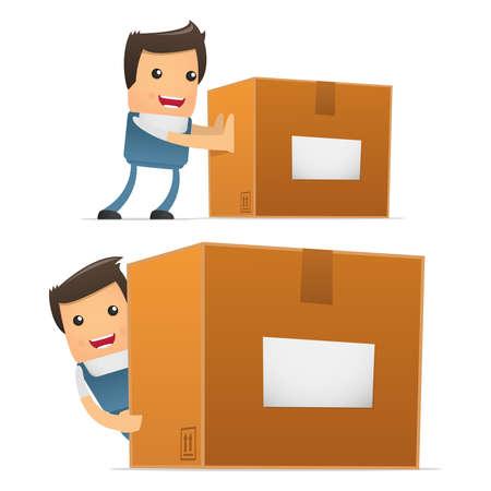 verhuis dozen: set van grappige cartoon monteur Stock Illustratie