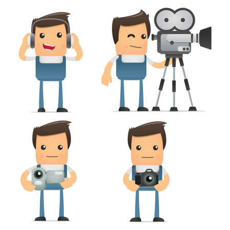set of funny cartoon mechanic Vector